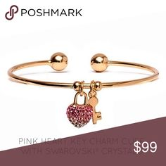 🔜Heart Key Charm Cuff With Swarovski® Crystals PRODUCT DESCRIPTION:  An encrusted heart and key charm adorned with crystals from Swarovski® decorate this slender 18-karat gold-plated cuff with a sophisticated touch of detail.  7.2'' circumference x 0.2'' W Pendant: 0.8'' L 18k gold-plated brass / Swarovski® crystal Imported Janis Boutique  Jewelry Bracelets