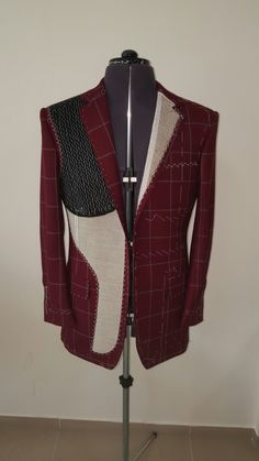 Jacket i made for the window in our new shop in Praha. Showing the inside of a handmade bespoke jacket