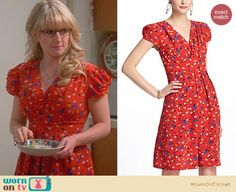 Bernadette's red Thanksgiving dress on The Big Bang Theory.  Outfit Details: https://wornontv.net/23040/ #TheBigBangTheory