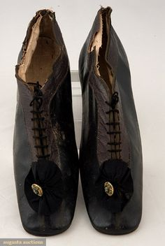 Augusta Auctions, November, 2007 -Tasha Tudor Historic Costume Collection, Lot 313: Lady's Two Tone Leather Tie Shoes, 1835-1850