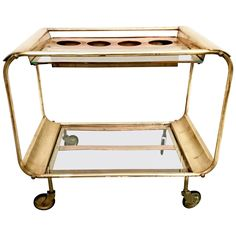 Art Deco Bar Cart in Copper and Brass, Italy, 1930 | From a unique collection of antique and modern bar carts at https://www.1stdibs.com/furniture/tables/bar-carts/