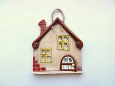 Clay House wall hanging ceramic houses miniature by potteryhearts Clay Art Projects, Polymer Clay Projects, Diy Clay, Clay Crafts, Clay Houses, Ceramic Houses, Pottery Houses, Warm Home Decor, Raku Pottery