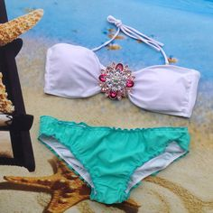 Women's Sexy Crystal Padded Strap/Strapless Top w/Bottom Bikini Bathing Suit XS-L Several Color Options To Choose From
