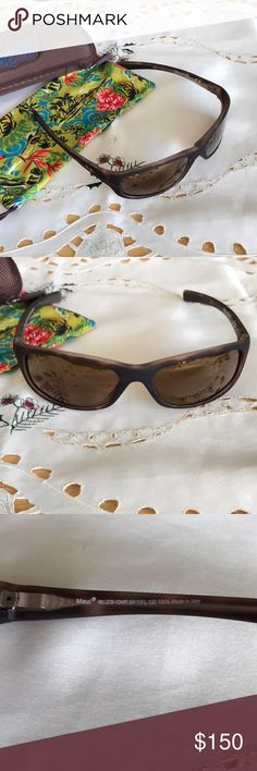 """Maui Jim MJ 279 Kipahulu ladies sunglasses.  NWOT Maui Jim MJ 279 Kipahulu ladies sunglasses Matte tortoise color, HCL bronze lense Microfiber bag, Sport case with clip 5.5"""" hinge to hinge NWOT (sales clerk cut them off because she thought I wanted to wear them) Smoke and pet free home Maui Jim Accessories Sunglasses"""