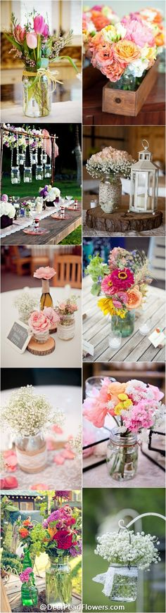 Rustic country mason jar wedding ideas /  http://www.deerpearlflowers.com/cheap-mason-jar-wedding-ideas/