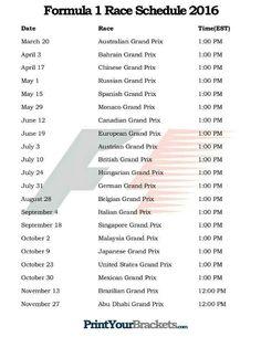 2016 F1 schedule