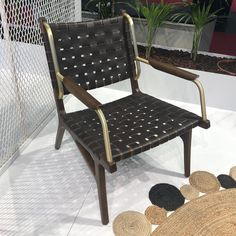 Leather woven lounge chair with brass and wooden arm details. Contract Furniture, Leather Weaving, Luxury Furniture, Cologne, Arm, Lounge, Brass, Chair, Home Decor