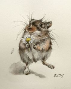 Artist: Alena Olt More art: Ta – Heike Bunn - Art ideas Animals Watercolor, Watercolor Paintings, Maus Illustration, Illustrations, Cute Drawings, Animal Drawings, Watercolor Inspiration, Wow Art, Whimsical Art