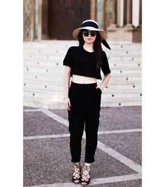 Betty Autier of Le Blog De Betty On Autier: Topshop hat; Dior sunglasses; ASOS shirt, pants, and sandals