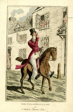 © The Trustees of the British Museum  The Stamford dandy or a modern Peeping Tom, 1819  Hand-coloured etching