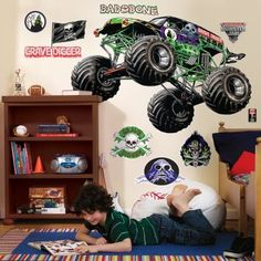 Monster Jam Wall Decal. Justin has these decals too.  very cool.