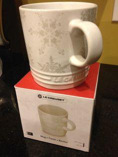 Le Creuset Snowflake Mug White Stoneware Cup Holiday Christmas Coffee Tea NEW