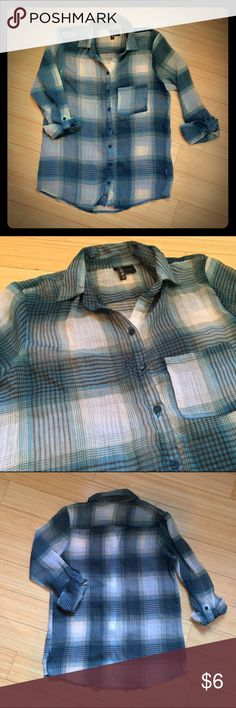 Sheer Button Down Top Plaid Aquamarine Full Tilt Aquamarine Plaid Button Up. Very Sheer Material. Size large, but it runs a bit small and is closer to a size medium. Never worn. 100% Polyester. Full Tilt Tops Button Down Shirts