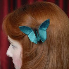 Green Silk Origami Butterfly Hair Clip Fascinator by SewSmashing, $22.00