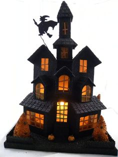 Black Glittered Halloween House ~ Pressed cardboard embellished with glitter, bottle brush trees, witch on a broom, and pumpkins. L x W x H ~ KD Vintage. Retro Halloween, Spooky Halloween, Halloween Village, Halloween Haunted Houses, Halloween Cakes, Holidays Halloween, Halloween Decorations, Halloween Ideas, Halloween Miniatures