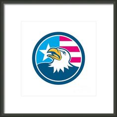 American Bald Eagle Head Flag Side Cartoon Framed Print By Aloysius Patrimonio