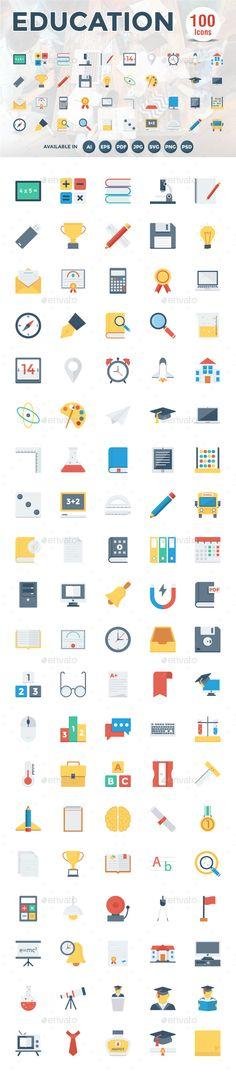 100 Education Flat Icons