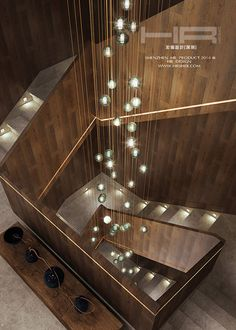 Like the light of the moon, the light of the moon, the glimpse of the glory, and the blending of the new wave and the classical one. Interior Staircase, Staircase Railings, Staircase Design, Vaulted Ceiling Lighting, Stairway Lighting, Chandelier Lighting, Interior Lighting, Home Lighting, Lighting Design
