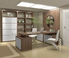 Modern office wood cabinets ultra modern home office decor ideas presenting white chair also brown wooden office table connected to brown wall paneling plus Mesa Home Office, Office Table, Home Office Desks, Office Decor, Office Ideas, Ikea Office, Rustic Office, Decorating Office, Desk Office