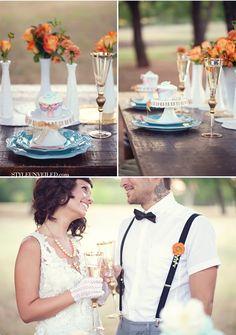 Beautiful table settings #Wedding #Table #Setting #Place #Decor #Blue #Orange