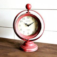 Distressed Table Clock- Red