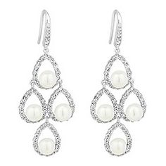 Jon Richard Crystal stick and cap pearl drop earring- at Debenhams ...