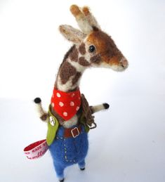 Original and One of a Kind Needle Felted Giraffe Cowboy  Designed and handmade from scratch by Miss Bumbles Ready to Ship This Giraffe is made from