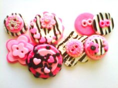 Button Zebra and Pink handmade polymer clay by digitsdesigns, $12.00