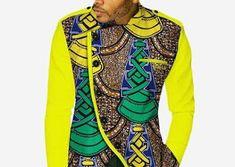 WAX African Dress Shirt African Men, African Style, African Dress, African Fashion, Dress Shirts, T Shirt, Shirt Style, Wax, Long Sleeve