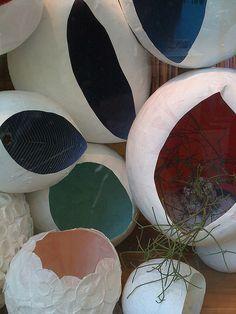 paper-maché cocoons