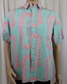 b4e0e190a8e Reyn Spooner Reverse Print Hawaiian Shirt Green with Red  amp  Blue Leis  Large Aloha