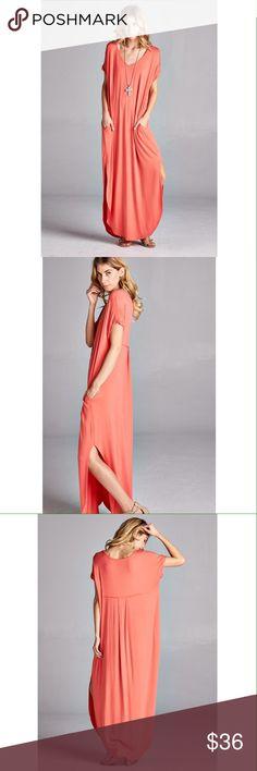 Coral solid color v-neck dress with side slits Has pockets! Dresses