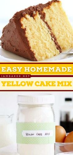 Ditch store-bought cake mixes and makes your own starting with this Homemade Yellow Cake Mix from scratch! This easy dessert recipe is the perfect gift for family and friends. Pin this homemade and easy cake recipe!
