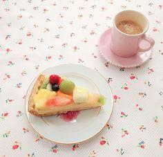 Fruit tart & tea ~ yum