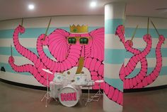 It's Trevor Tempo Trunks!  In collaboration with @thedrawingarm I had a blast painting him in the new BWM Dentsu office in Sydney.  Thanks @louantonius for the sweet name suggestion!  An Ode to Trevor Tempo Trunks  He was a magical creature a sight to behold His appearance a feature his style so bold  Known far and wide as Mr Trevor Tempo Trunks He played the drums better than MJ could do the dunks  From when he was born he was destined for things Like making great noises by hitting the pig…
