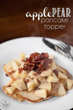 Apple Pear Pancake Topper takes only minutes to make and is a delicious blend of apples, pears, vanilla bean, maple syrup, and crisp bacon pieces.