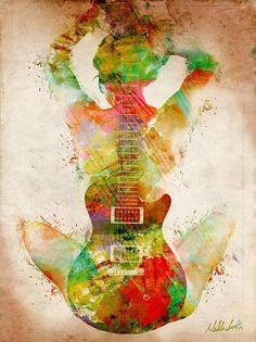 Mujer y guitarra en #acuarela #watercolor