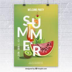 Sommerfest-Plakat mit Früchten