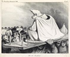 <b>HONORÉ DAUMIER</b> <br /> Collection of approximately 60 lithographs. <br />  <br /> Each sur blanc, circa 1830-45.  Includes lithographs from <i>Émotions Parisiennes</i>, <i>La Caricature</i>, <i>Types Parisiens</i>, <i>Proverbes et Maximes</i> and others.  Various sizes and conditions.