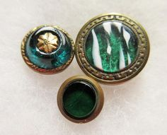 Lot of 3 Antique~ Vtg Victorian Metal Gents Waistcoat BUTTONS w/ Emerald GLASS