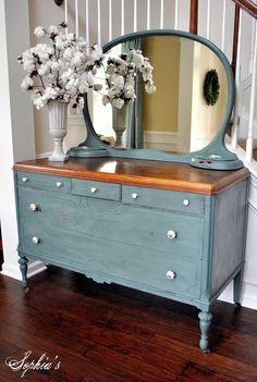 Milk paint antique dresser