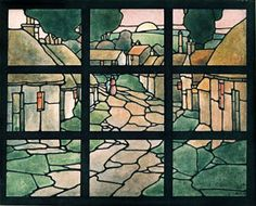 Village, stained glass window study Ernest Archibald TAYLOR