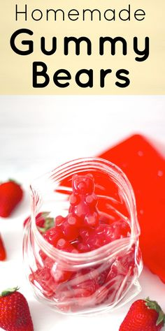 Low Carb Recipes Healthy Homemade Gummy Bears (fat free, sugar free, low carb) - Healthy Dessert Recipes at Desserts with Benefits minus the red food dye - Healthy Dessert Recipes, Candy Recipes, Low Carb Recipes, Healthy Snacks, Fruit Snacks, Keto Desserts, Eat Healthy, Healthy Living, Homemade Gummy Bears