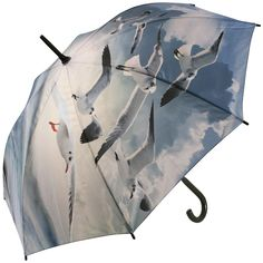 Walking length art umbrella with a stunning colourful print of seagulls against a sky blue background, automatic opening metal/fibreglass 8 rib frame with black plastic crook handle & tips Raincoat Outfit, Hooded Raincoat, Umbrellas Parasols, Yellow Raincoat, Under My Umbrella, Singing In The Rain, Raincoats For Women, Cool Style, Art Prints