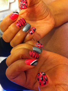 nails designs 2011 french | Funky pink, black and silver nail design with random zebra and leopard ...
