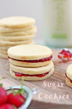 Lemon Sugar Cookies with Strawberry Perserve Filling!  Yummy!