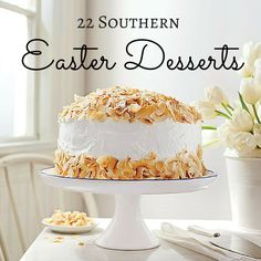 Coconut Cream Cake - 25 Easy Easter Cakes - Southern Living - Look for packaged coconut shavings in your grocer's natural foods section. Coconut Pound Cakes, Coconut Frosting, Spring Desserts, Just Desserts, Easter Desserts, Coconut Desserts, Coconut Recipes, Coconut Cheesecake, Easter Cake Easy