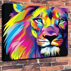 Home Decor,Art Quality Canvas Print, Oil Painting Wahyu Romdhoni Lions  24x27