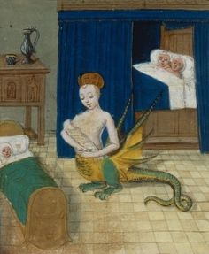 Melusine flees after being discovered by her husband, but she returns to care for her infants  http://inpress.lib.uiowa.edu/feminae/DetailsPage.aspx?Feminae_ID=32648