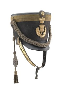 A FINE AND RARE OFFICER'S 'REGENCY' PATTERN SHAKO, PROBABLY KIRKCUDBRIGHT AND WIGTON MILITIA, CIRCA 1816-22 Military Suit, Military Fashion, Military Hats, Military Uniforms, Royal Marines, Regency Era, Empire Style, Napoleonic Wars, Headgear